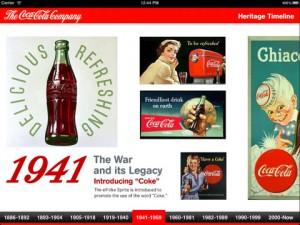 coke ipad 1 300x225 Coca Cola y Heritage su timeline app para iPad
